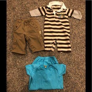 Boys 3-6 month bundle- Gap pants, one piece outfit